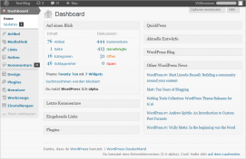WordPress 3.5 Backend
